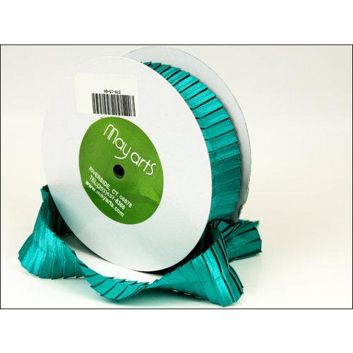 May Arts - Designer Ribbon - Stain Pleats - Teal - 15 Yards