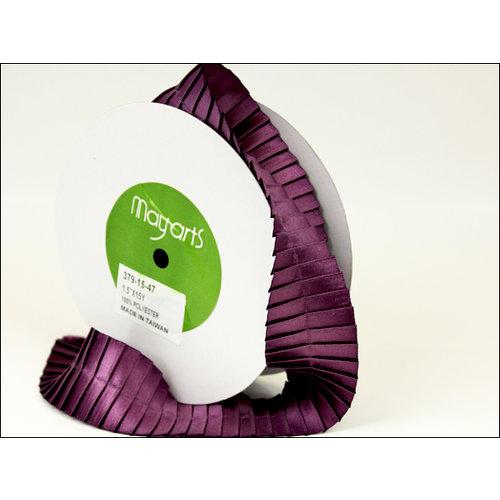 May Arts - Designer Ribbon - Stain Pleats - Plum - 15 Yards