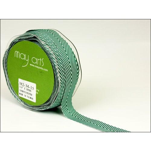 May Arts - Designer Ribbon - Twill Stripes - Green - 30 Yards