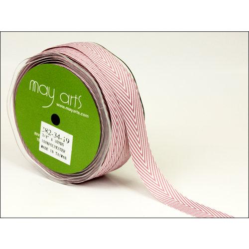 May Arts - Designer Ribbon - Twill Stripes - Mauve - 30 Yards