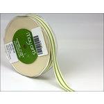 May Arts - Designer Ribbon - Organic Cotton with Stripes - Celery - 30 Yards