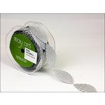 May Arts - Designer Ribbon - Leaves - Silver - 15 Yards