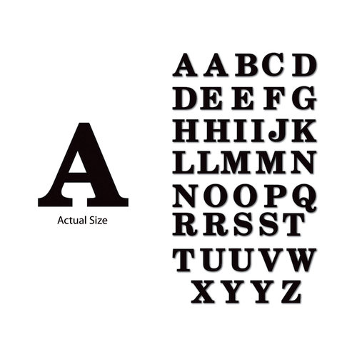 Momenta - Chipboard Stickers - Large - Serif Alphabet - Black