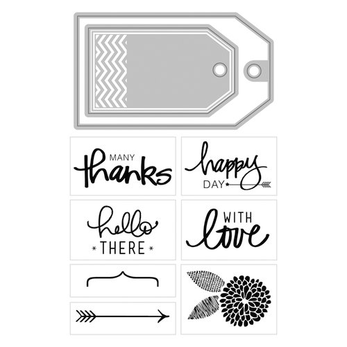 Art-C - Die and Clear Acrylic Stamp Set - Love, Hello, Thanks