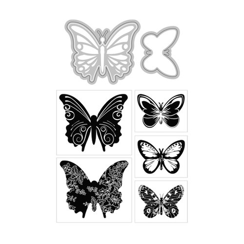 Art-C - Die and Clear Acrylic Stamp Set - Butterflies
