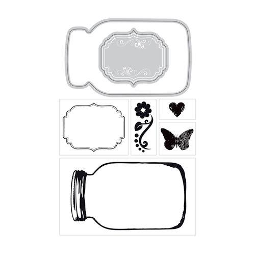 Art-C - Die and Clear Acrylic Stamp Set - Mason Jar