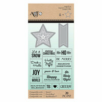 Art-C - Christmas - Die and Clear Acrylic Stamp Set - Star and exams Message Fetti