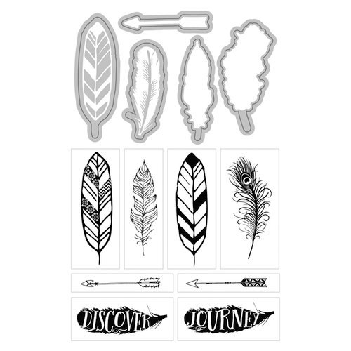 Art-C - Die and Clear Acrylic Stamp Set - Feathers