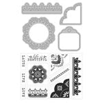 Art-C - Die and Clear Acrylic Stamp Set - Doilies and Lace