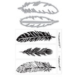 Art-C - Die and Clear Acrylic Stamp Set - Large Feathers