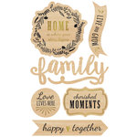 Momenta - Wood Stickers with Foil Accents - Family