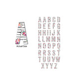 Momenta - Chipboard Stickers - Serif Alphabet - Watercolor Flowers