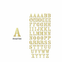 Momenta - Chipboard Stickers with Foil Accents - Serif Alphabet - Gold - 60 Pieces