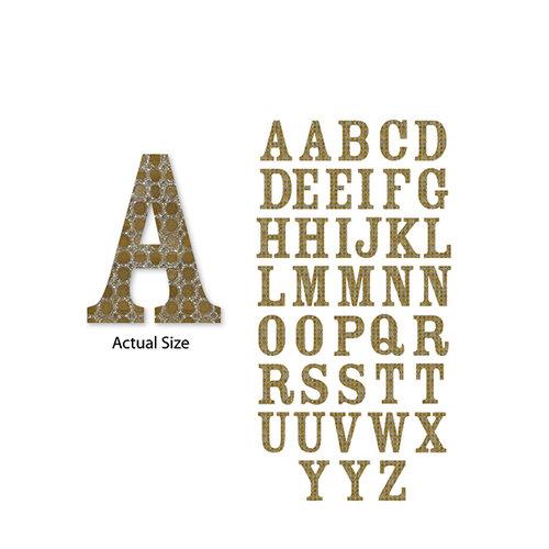 Momenta - Chipboard Stickers - Medium - Serif Alphabet - Gold Circles