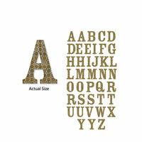 Momenta - Chipboard Stickers - Medium - Serif Alphabet - Gold Circles