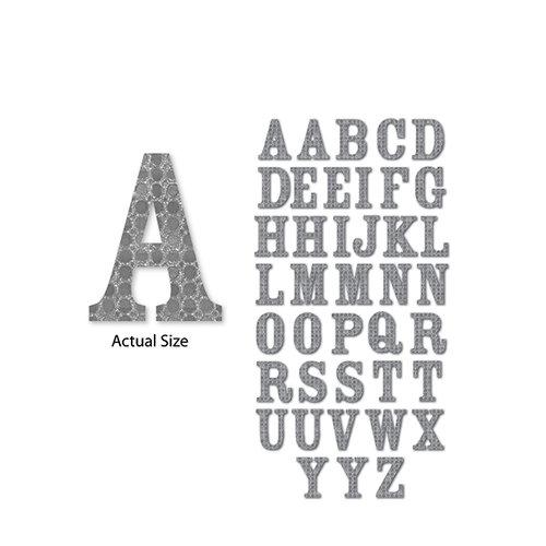 Momenta - Chipboard Stickers - Medium - Serif Alphabet - Silver Circles