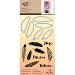 Art-C - Die and Clear Acrylic Stamp Set - Feathers and Hope