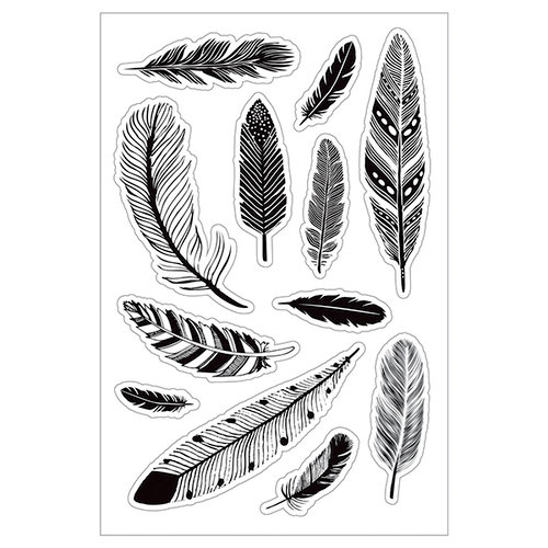 Momenta - Clear Acrylic Stamps - Assorted Feathers