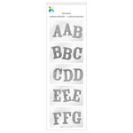 Momenta - Chipboard Stickers - Mini - Alphabet - Glitter - Silver