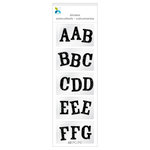 Momenta - Chipboard Stickers - Mini - Alphabet - Glitter - Black