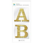 Momenta - Chipboard Stickers - Large - Alphabet - Serif - Grunge Gold Glitter