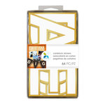 Momenta - Cardstock Stickers - 4 Inches - Alphabet - Sans Serif - White Gold Foil