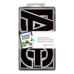 Momenta - Cardstock Stickers - 4 Inches - Alphabet - Sans Serif - Black Silver Foil