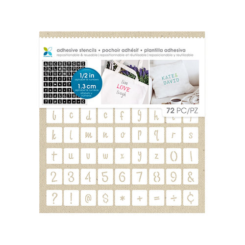 Momenta - Fabric Stencils - 8 x 8 - Fun Font Alphabet and Numbers - 12 Inch