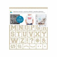 Momenta - Fabric Stencils - 8 x 8 - Varsity Font Alphabet - 1 Inch