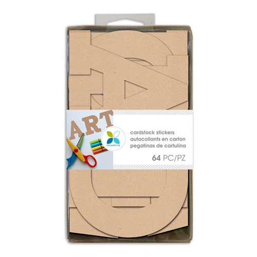 Momenta - Cardstock Stickers - 4 Inches - Alphabet - Sans Serif - Kraft
