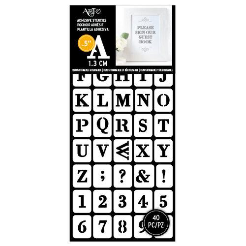 Art-C - Adhesive Stencils - Modern Serif Font - 0.5 Inch