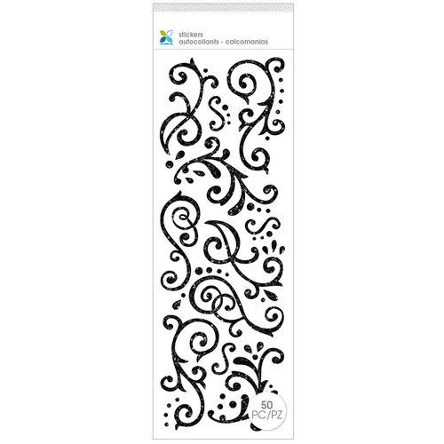 Momenta - Glitter Stickers - Flourishes - Black