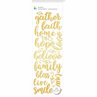 Momenta - Puffy Stickers - Gather Faith Home Hope - Gold
