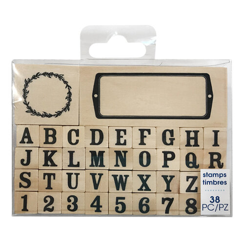 Momenta - Wood Mounted Rubber Stamp - Serif Alpha Name Plate