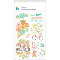 Momenta - Unmounted Cling Rubber Stamps - Flowers Hello Beautiful