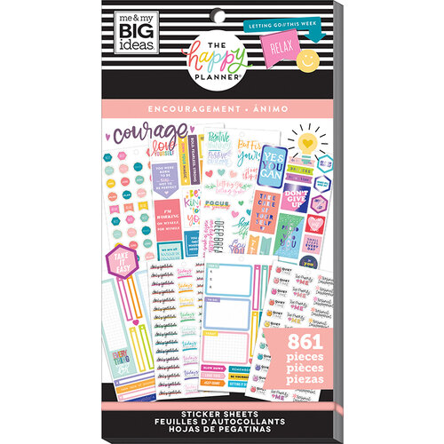 Me and My Big Ideas - Happy Planner Collection - Planner - Stickers - Value Pack - Encouragement with Foil Accents