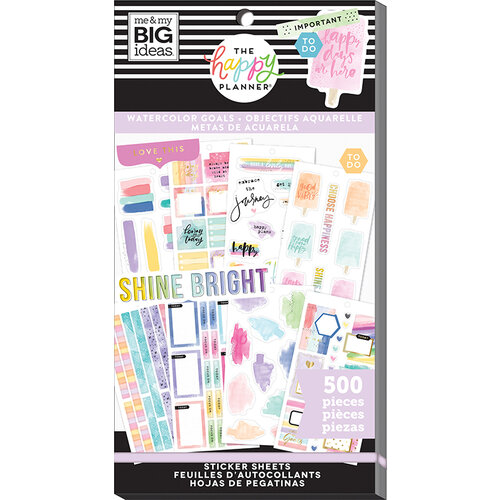 Me and My Big Ideas - Happy Planner Collection - Planner - Stickers - Value Pack - Watercolor Goals With Foil Accents