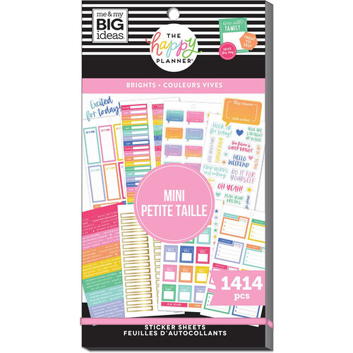 Me and My Big Ideas - Happy Planner Collection - Planner - Mini - Stickers - Value Pack - Brights Skinny