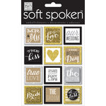 Me and My Big Ideas - Soft Spoken - 3 Dimensional Stickers - Squares Gold Love