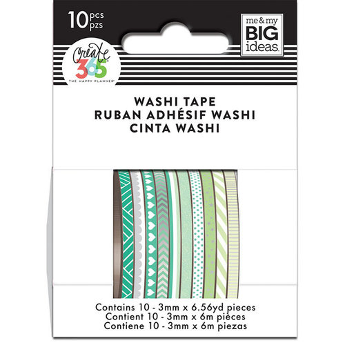 Me and My Big Ideas - Create 365 Collection - Planner - Mini Washi Tape - Green Hues with Foil and Glitter Accents