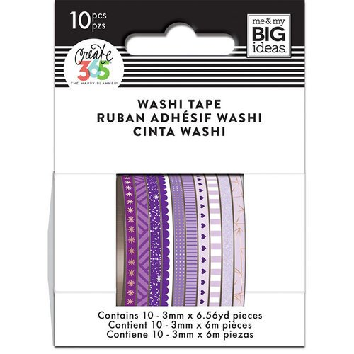 Me and My Big Ideas - Create 365 Collection - Planner - Mini Washi Tape - Purple Hues with Foil and Glitter Accents