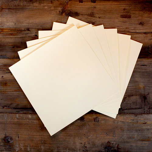 My Colors Cardstock - My Minds Eye - 12 x 12 Classic Cardstock Pack - Smooth Finish - Ivory - 18 Pack