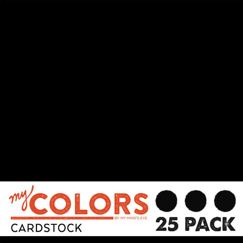 My Colors Cardstock - My Minds Eye - 12 x 12 Classic Cardstock Pack - New Black - 25 Pack