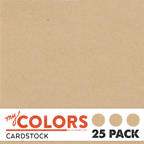 My Colors Cardstock - My Minds Eye - 12 x 12 Classic Cardstock Pack - Kraft - 25 Pack