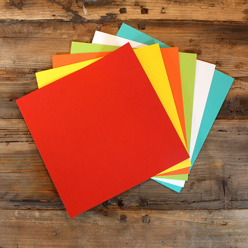 My Colors Cardstock - My Minds Eye - 12 x 12 Heavyweight Cardstock Pack - Festive Colors - 18 Pack