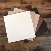 My Colors Cardstock - My Minds Eye - 12 x 12 Canvas Cardstock Pack - Brown Tones - 18 Pack