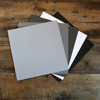 My Colors Cardstock - My Minds Eye - 12 x 12 Canvas Cardstock Pack - Gray Tones - 18 Pack