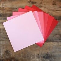 My Colors Cardstock - My Minds Eye - 12 x 12 Canvas Cardstock Pack - Pink and Red Tones - 18 Pack