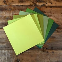 My Colors Cardstock - My Minds Eye - 12 x 12 Canvas Cardstock Pack - Green Tones - 18 Pack