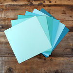 My Colors Cardstock - My Minds Eye - 12 x 12 Canvas Cardstock Pack - Aqua Tones